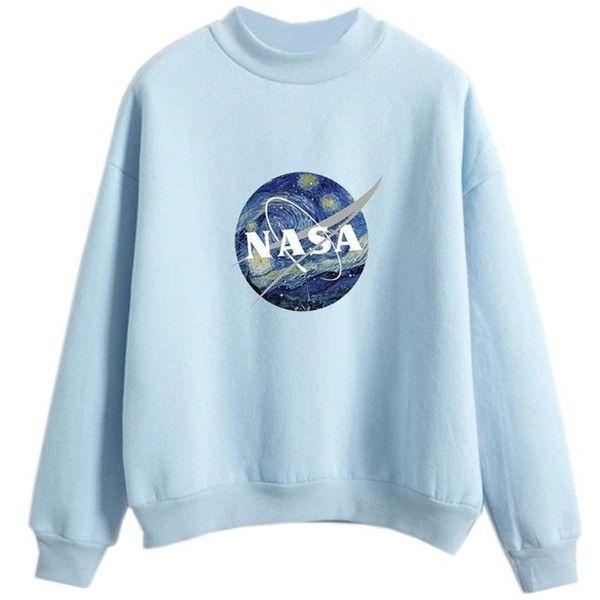 3f3e7c8f7cb8 Sweatshirts for Women Girl Pastel Nasa Print Cool Light Blue Kawaii ...
