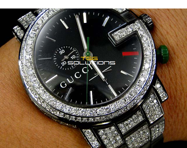 80b1b30eb42 Men s iced out Gucci watch