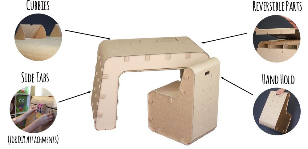 This furniture set, made just for kids, is corrugated cardboard that can be recycled when your child grows out of it.