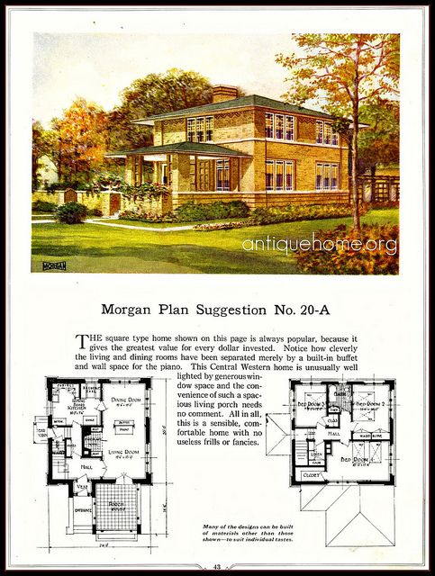 American Four Square Fireplace With Inglenook In Middle Of House Vintage House Plans House Plans Prairie House