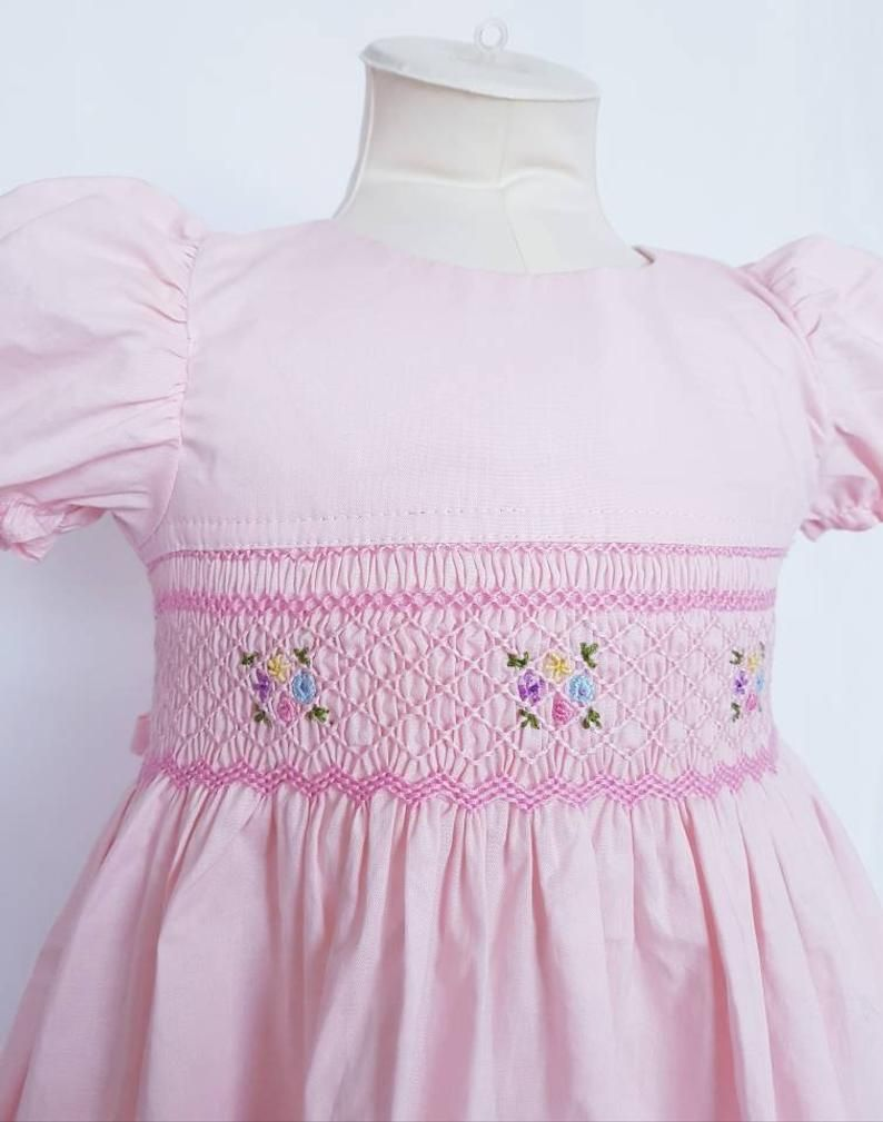 ece97b6c Beautiful pale pink hand smocked and embroidered baby dress - sizes ...