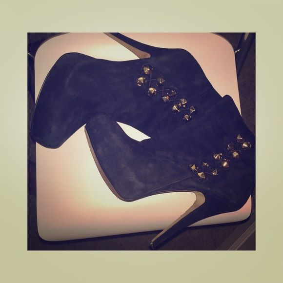 Vince Camuto Booties Black Vince Camuto ankle booties with gold detail. Worn but in good condition. Vince Camuto Shoes Ankle Boots & Booties