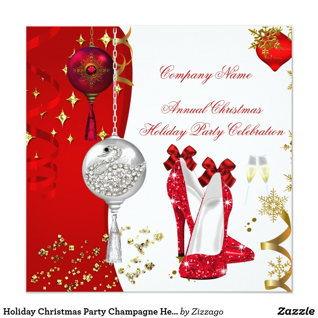 Holiday Christmas Party Champagne Heels Card Corporate Business
