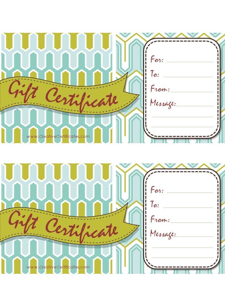 Gift Certificate Template Gift Ideas Pinterest Gift