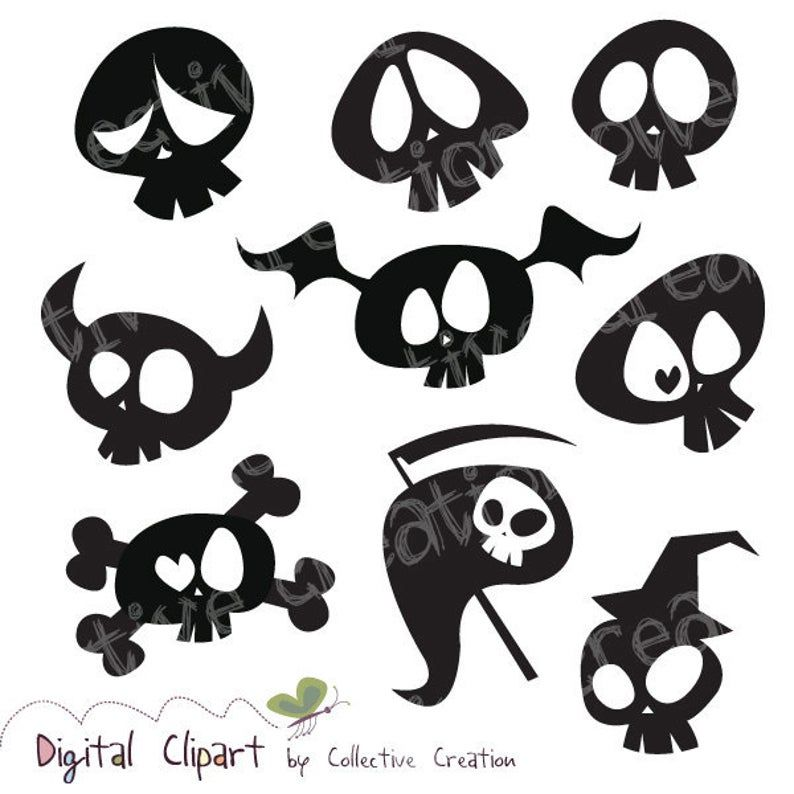 Cute Cartoon Skull Silhouette Clipart Digital Clip Art Ideal Etsy In 2021 Skull Silhouette Drawings Art