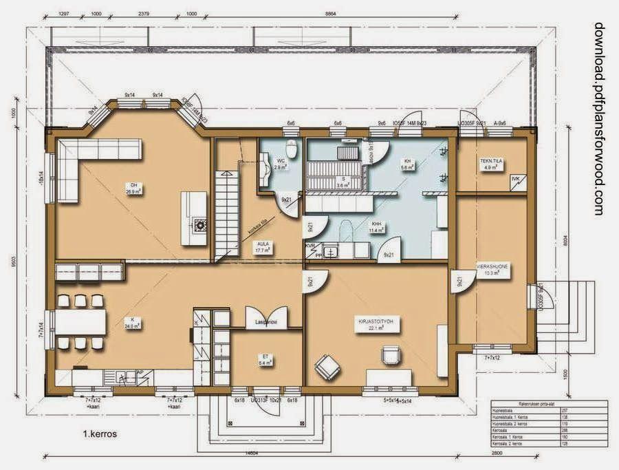 Plano de planta de una casa residencial de madera - Casas de madera de una planta ...