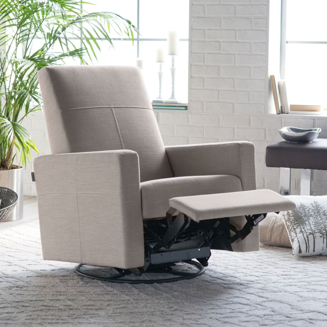 Dutailier Minho Reclining Glider With Built In Footrest Gliders Nursery Rockers At Hayneedle
