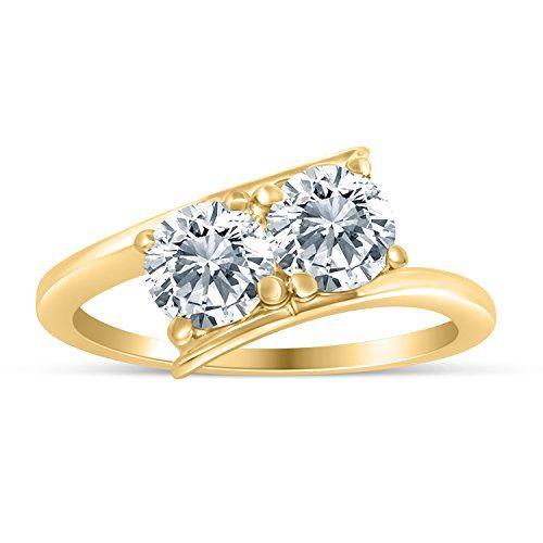 Angara Cognac Diamond Three Stone Bypass Ring in Yellow Gold kIx2iwc