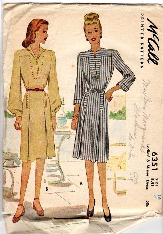 1946 Large Pleats Dress McCall Pattern 6351 Sz 16  by KotaKrafts