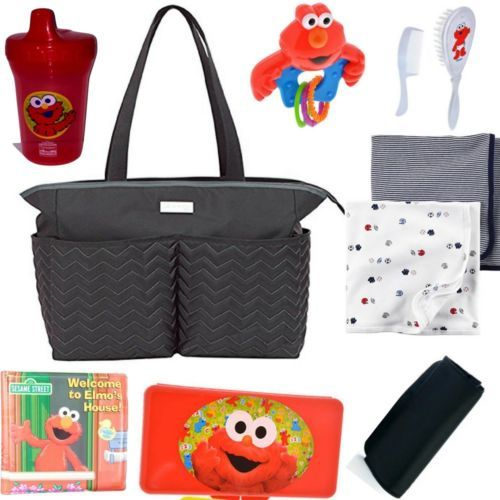 Carter 039 S Chevron Diaper Bag Black Grey With 9 Accessories Elmo Sesame Street