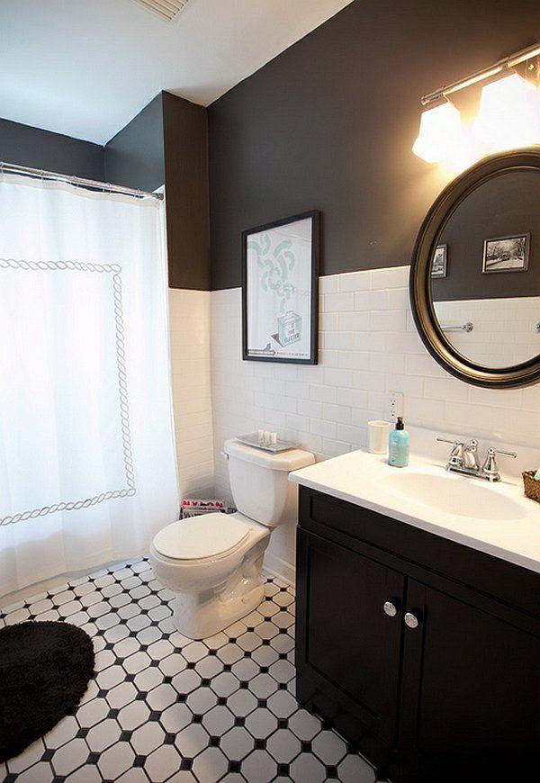 schwarz weiß wandfarbe wandfliesen im badezimmer Bath black - schwarz wei fliesen bad