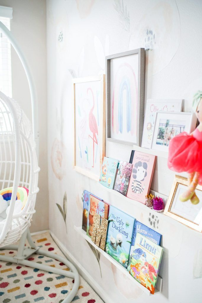Colorful and Whimsical Playroom Book Nook - The House of Hood Blog  Chelsee from The House of Hood Blog shares a whimsical and colorful playroom book nook with items f #Blog #book #Colorful #hood #House #Nook #Playroom #Whimsical