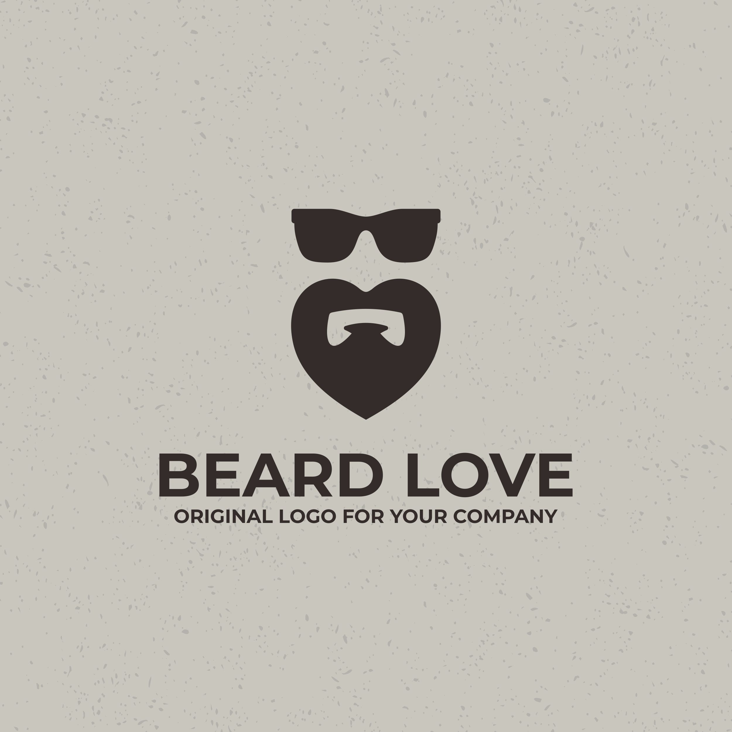 Heart shaped beard logo. Creative beard logo design