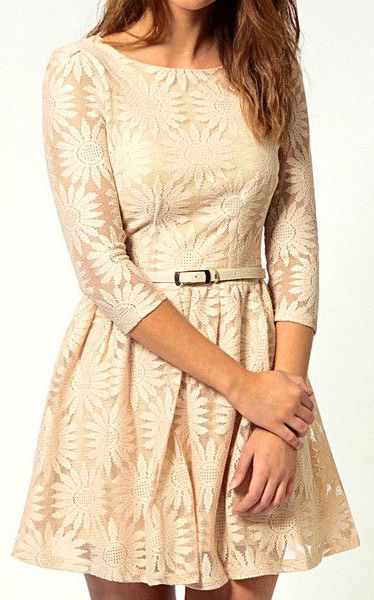 Floral Embroidery Dress - Apricot - Comes With Belt Dress