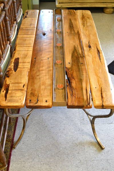 Strange Handcrafted Rustic Industrial Reclaimed Wood Plank Top Short Links Chair Design For Home Short Linksinfo