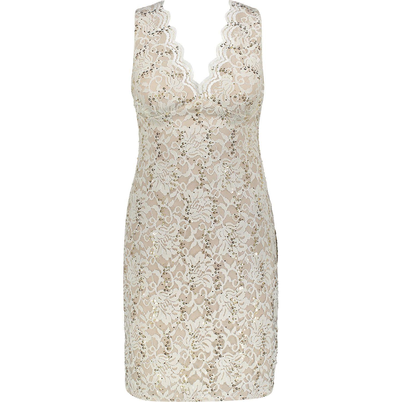 """MORGAN"" Nude & Ivory Lace Gold Tone Sequin Dress - TK Maxx"