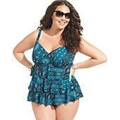 Swim Solutions Plus Size Swimsuit, Tiered Tribal-Print Tankini Top