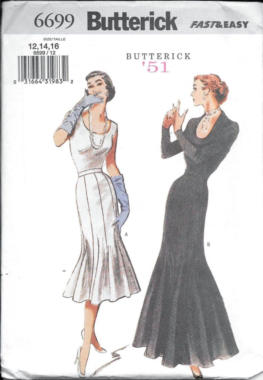 Butterick 6699 Retro \'51 Misses Fishtail Gown SKIRT Vintage 1950s ...