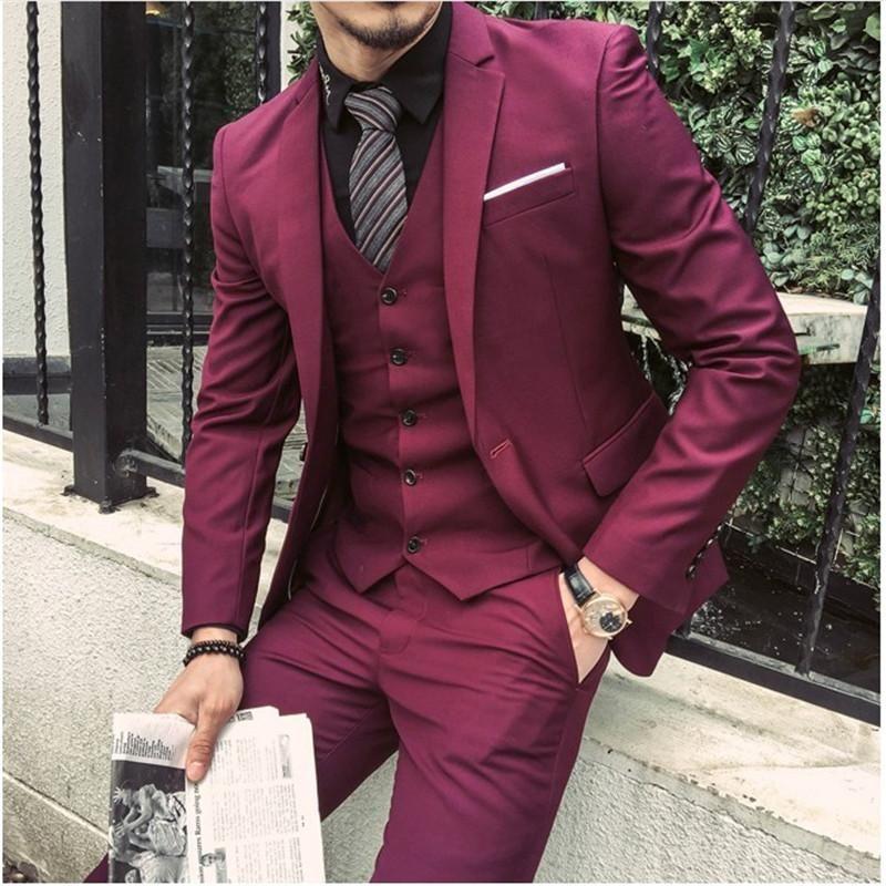 71fef503ac 2019 New Men 3 Pieces Business Casual Wedding Groom Tuxedo Party ...
