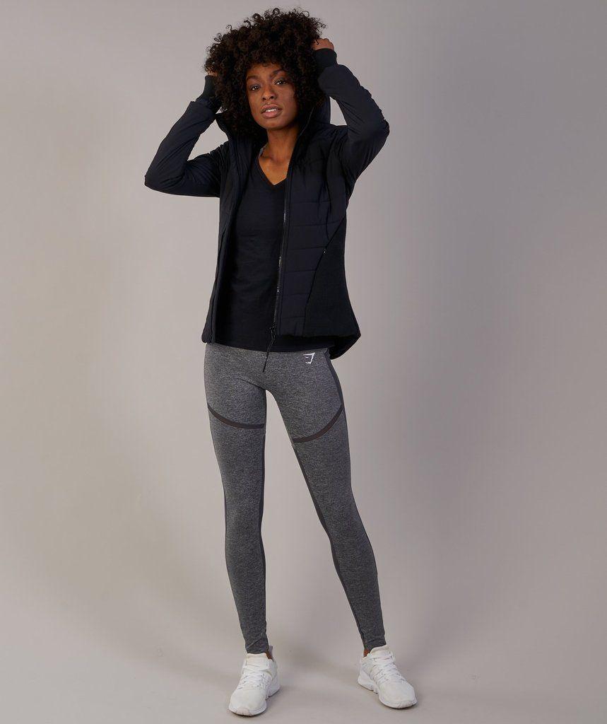 Gymshark Mellow Fitted Puffer Jacket Black Workout Hoodie Jackets Puffer Jackets [ 1024 x 859 Pixel ]