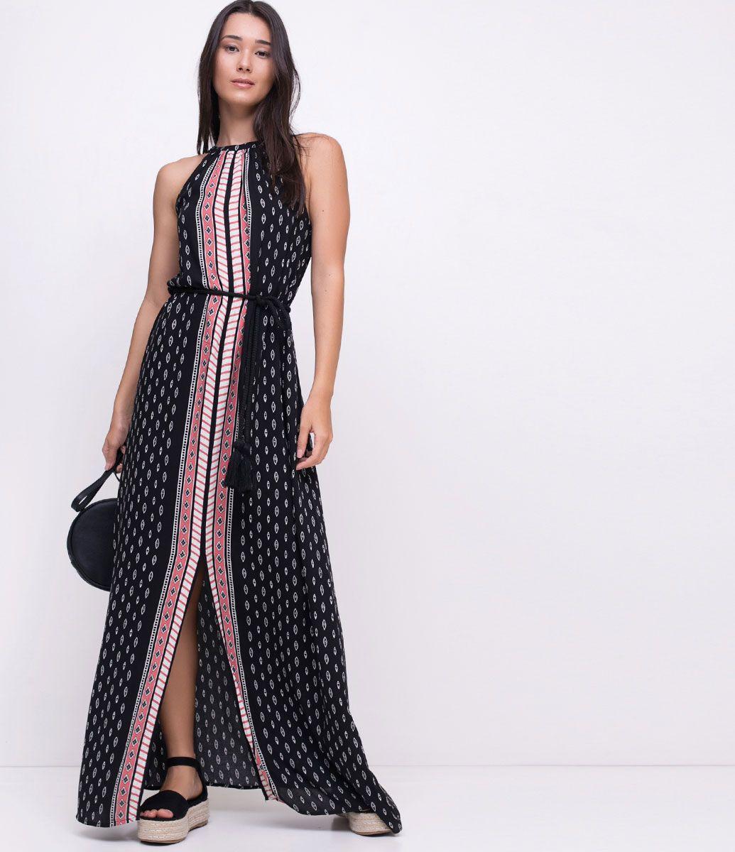 Vestido longo com cinto