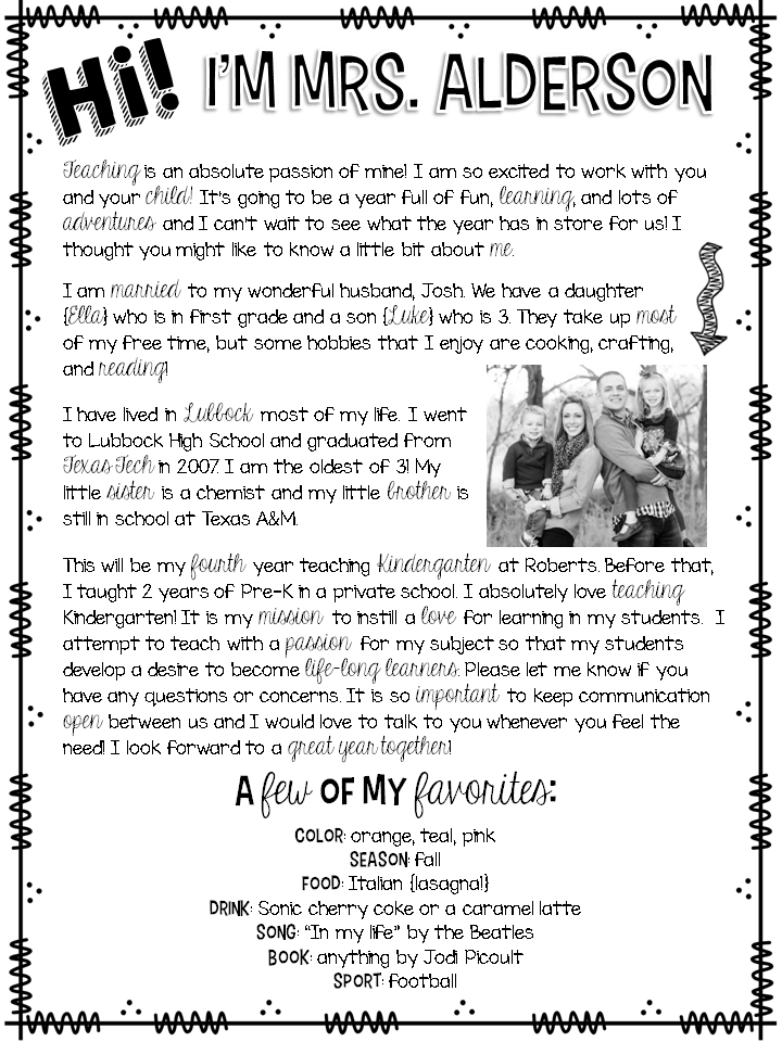 parent letters from teachers template