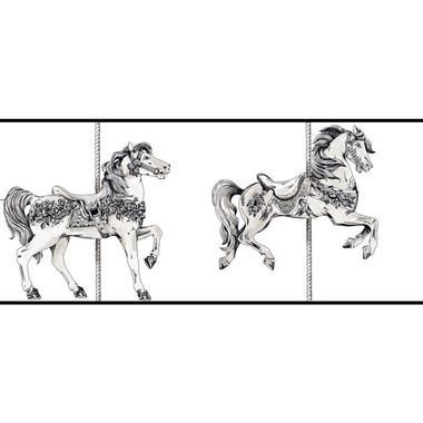 YS9136BD PEEK A BOO TOILE CAROUSEL HORSE BORDER White Soft Gray