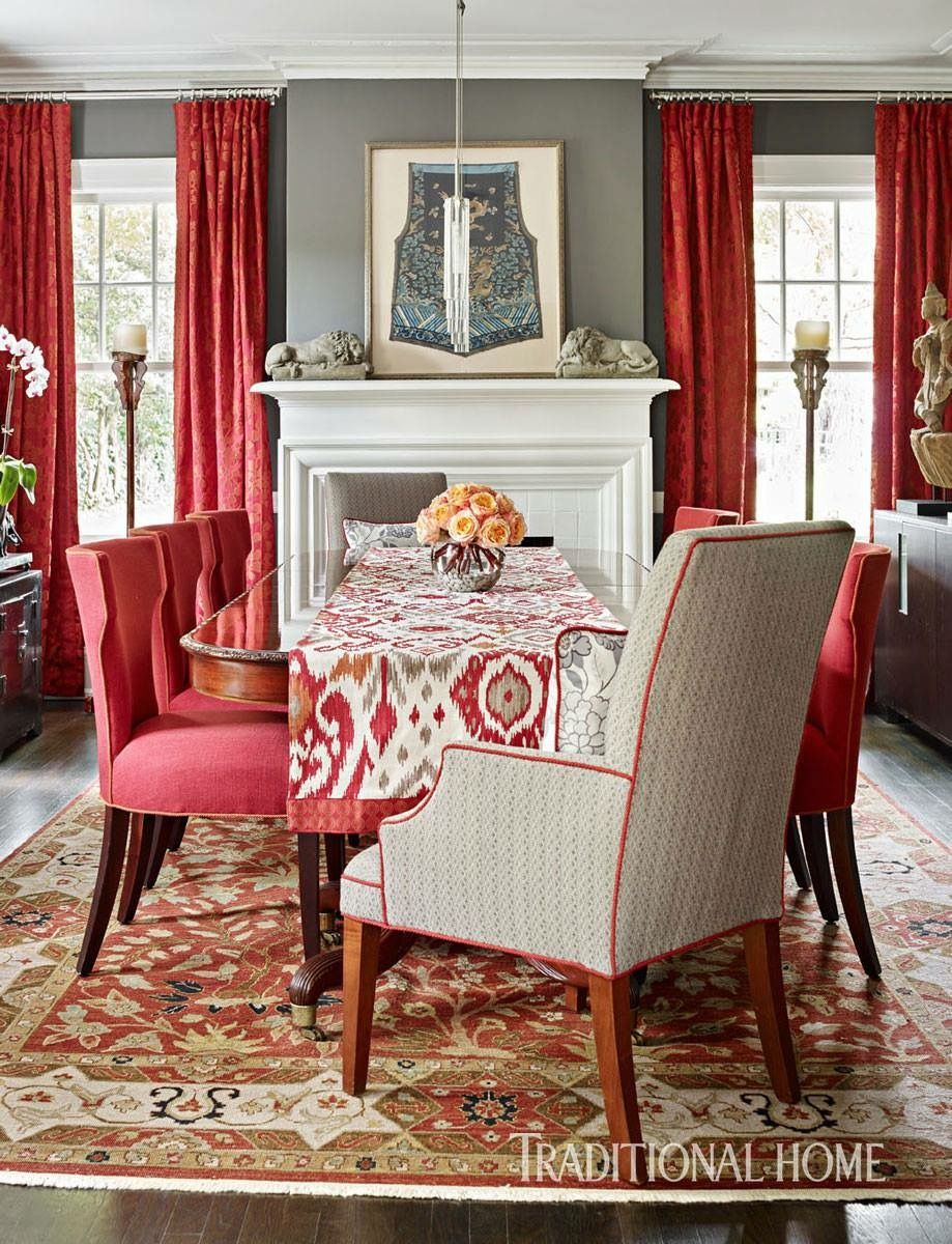 I would not naturally think of coral and grey--but it works beautifully here. The rug is the foundation.