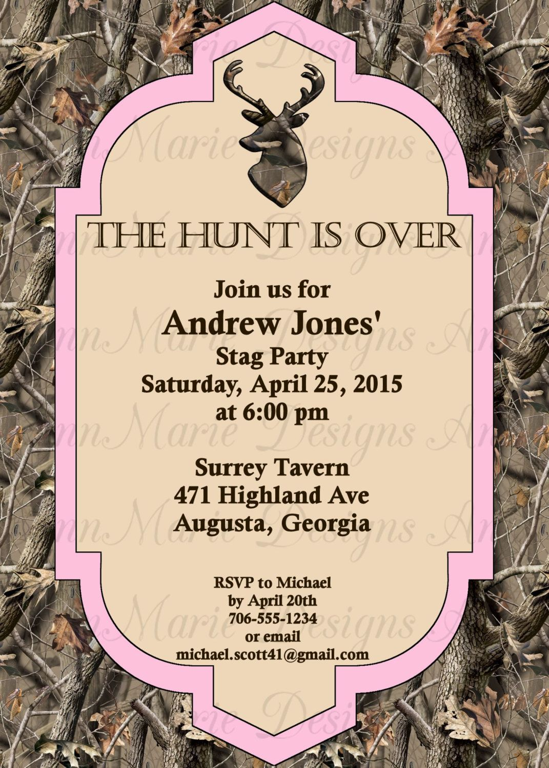 Camo Bachelor Party Invitation Stag Invite Real Tree Inspired By