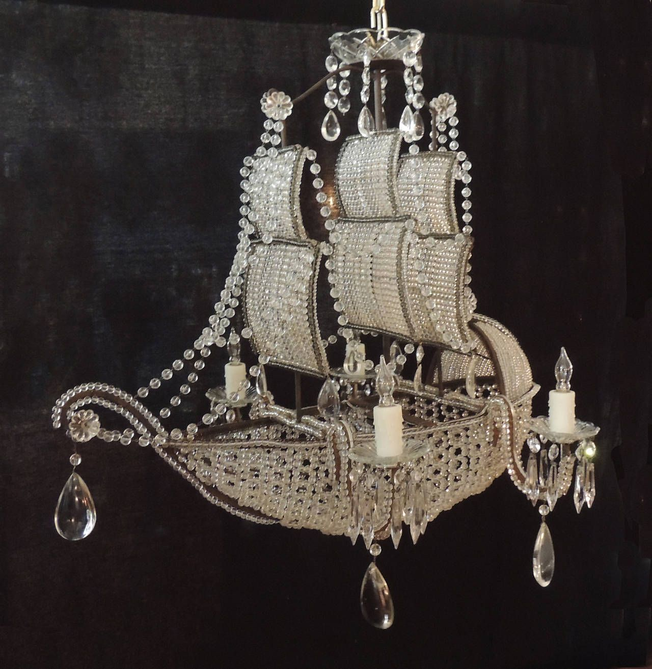 Early 1900s venetian crystal iron and tole ship chandelier early 1900s venetian crystal iron and tole ship chandelier arubaitofo Choice Image