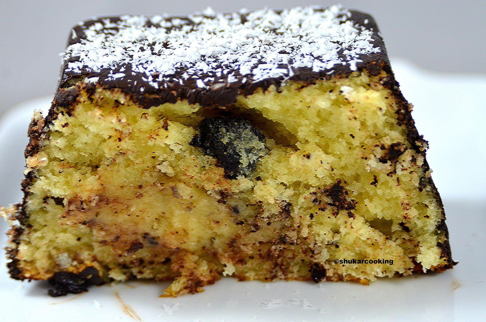 Cake très coco et un peu chocolat, mais sans beurre ...