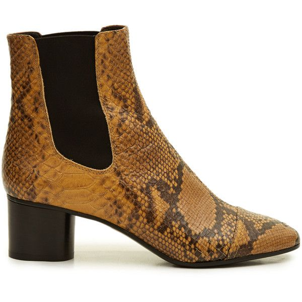 Isabel Marant Danae snake-effect leather chelsea boots (8,890 MXN) ❤ liked on Polyvore featuring shoes, boots, ankle booties, python, chelsea bootie, ankle boots, short leather boots, leather ankle booties and chelsea boots