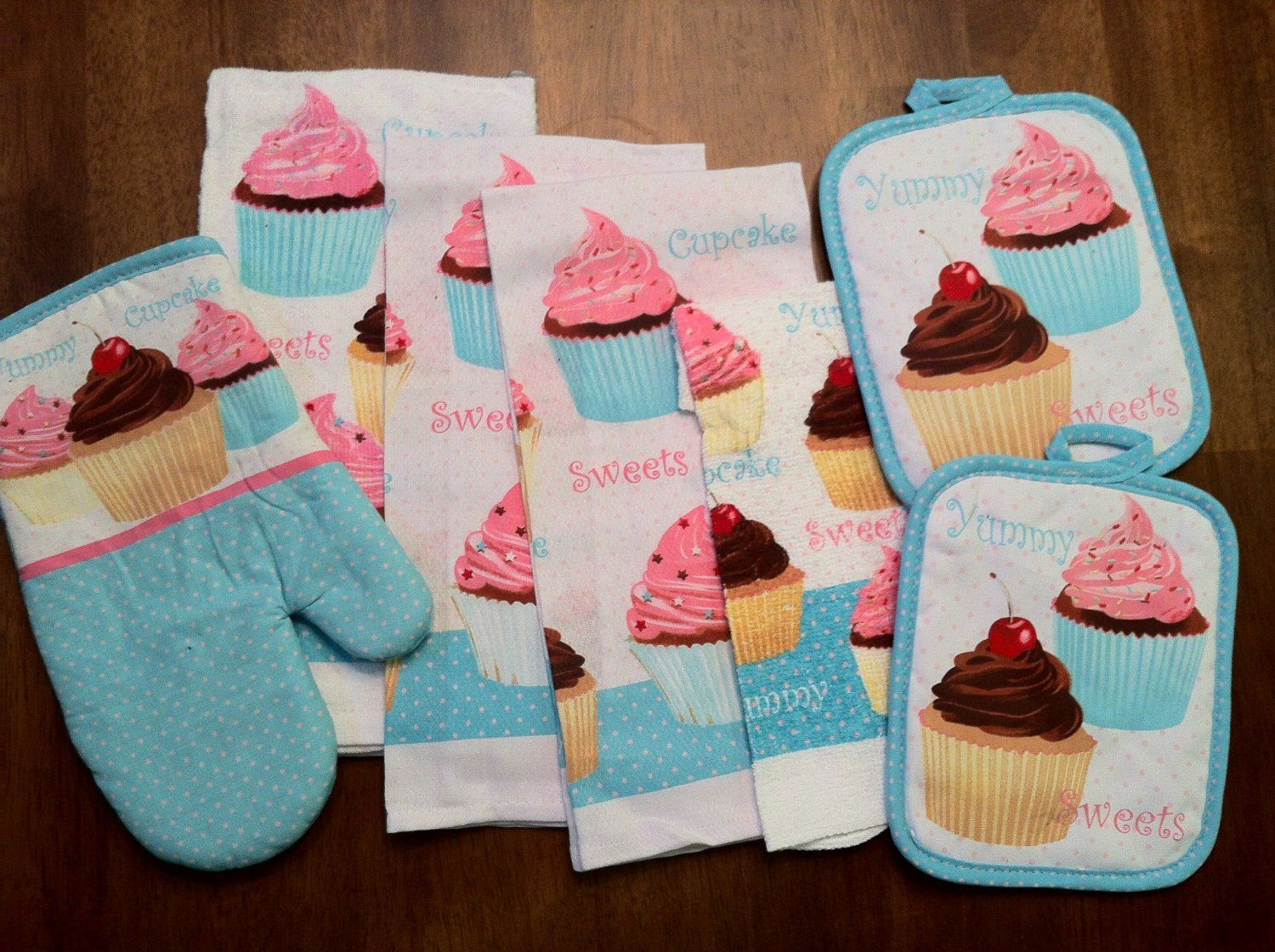 amazing Cupcake Kitchen Decor Sets #1: 7 Piece Too Cute Cupcake Kitchen Dish Towels Set with Pot Holders and Oven  Mitt