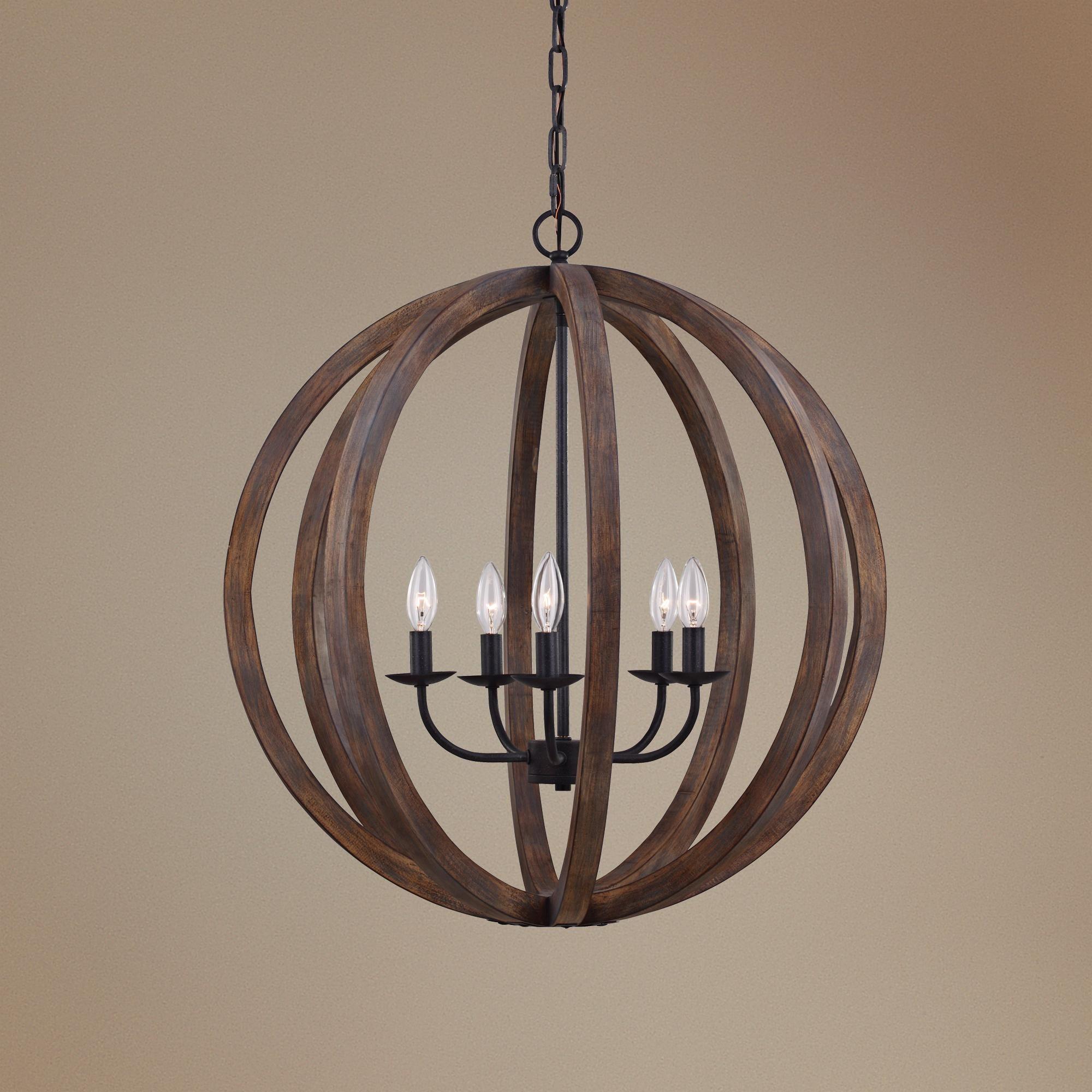 Feiss Allier 26 Wide Weathered Oak Wood Pendant Light -