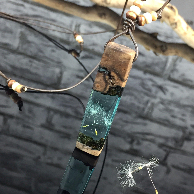 Photo of Bestseller/Dandelion wish necklace/Heart /Pusteblume Holz Harz Halskette/türkis/Glücksbringer/Epoxidharz/wood jewelry/epoxy/Weihnachten