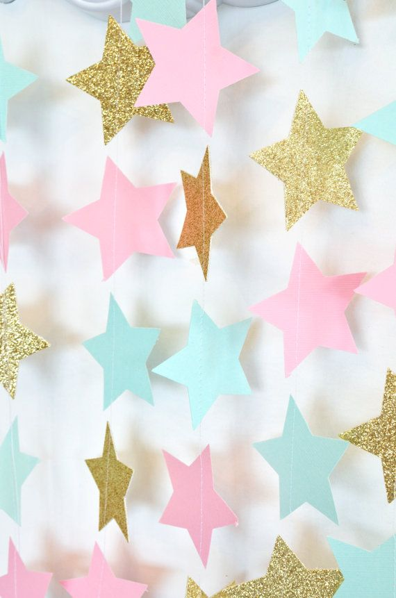 Twinkle Twinkle Little Star Garland, Mint Pink and Gold Paper Garland, Birthday Party Decor, Nursery Decor #decorationevent