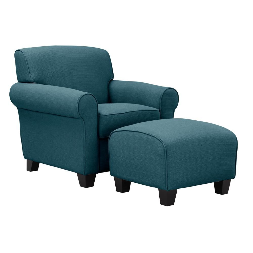 Overstuffed Chair And Ottoman Handy Living Winnetka Arm Chair And Ottoman In Caribbean Blue