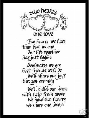 Two Hearts One Love Matted Calligraphy Wedding Poem Poems Favors Invitations