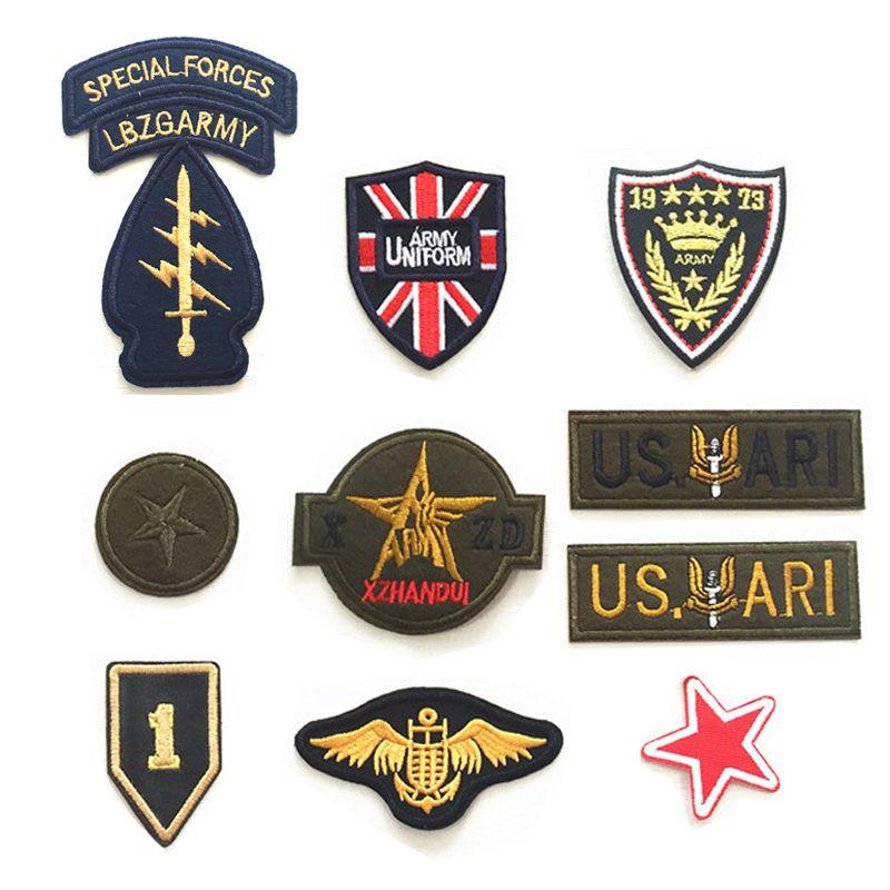 Alta qualidade 10 pcs patch bordado militar para o menino dos homens roupas  jaqueta jeans tecido apliques de ferro em roupas do exército emblemas  DIY(China ... 60705af4b13