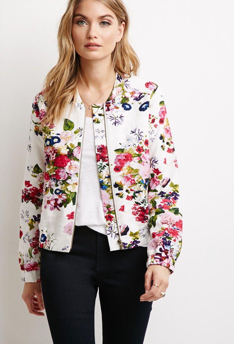 Floral Print Bomber Jacket | Forever 21 - 2000115312 ...