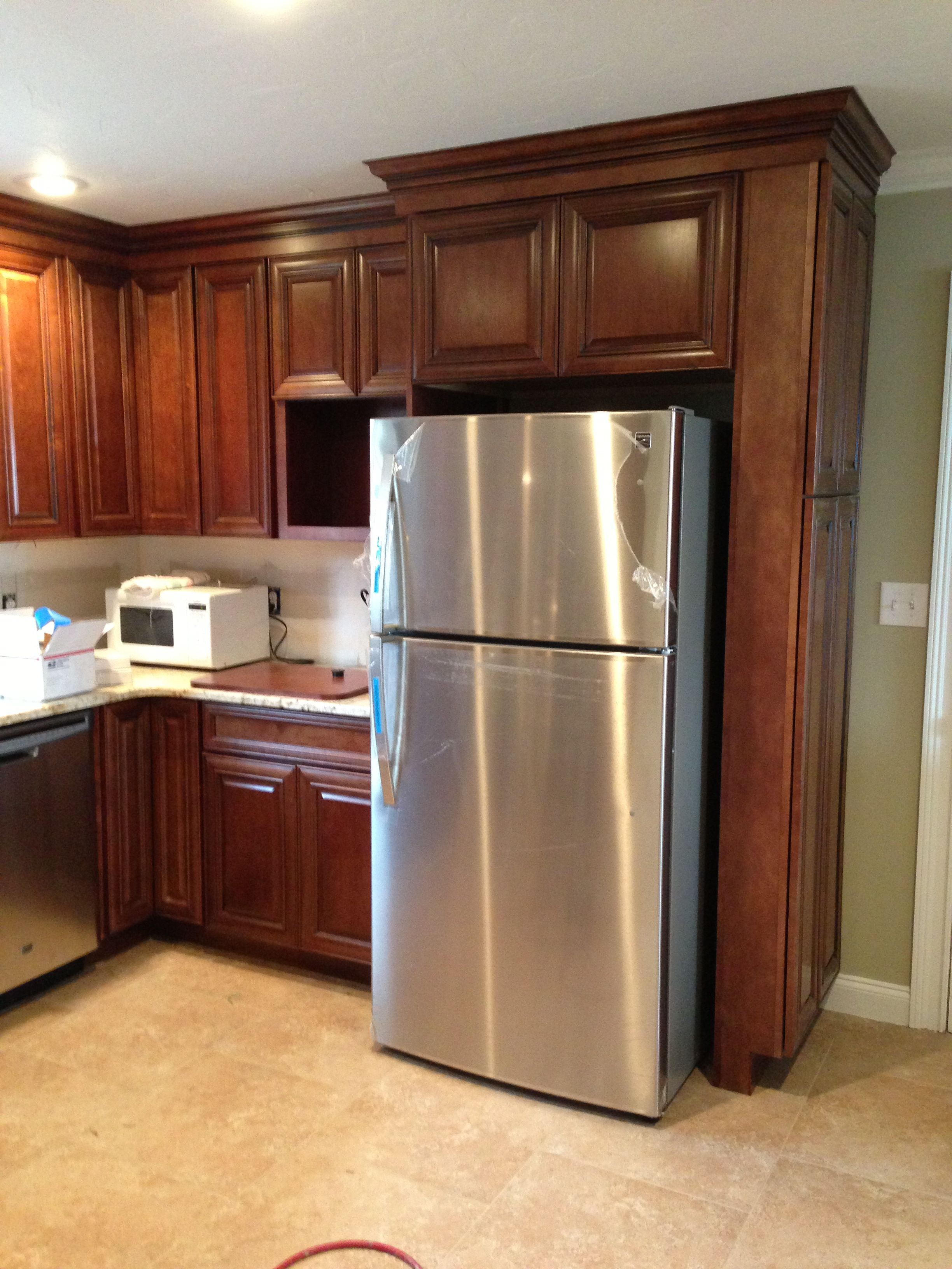 Broom Closet On The Side Of The Fridge New Kitchen Inspiration Refrigerator Panels Narrow Pantry
