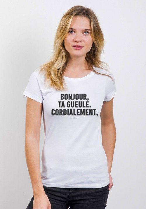 Gueule Femme Tshirt Rond Ta Cordialement Bonjour Col pxvwAq15