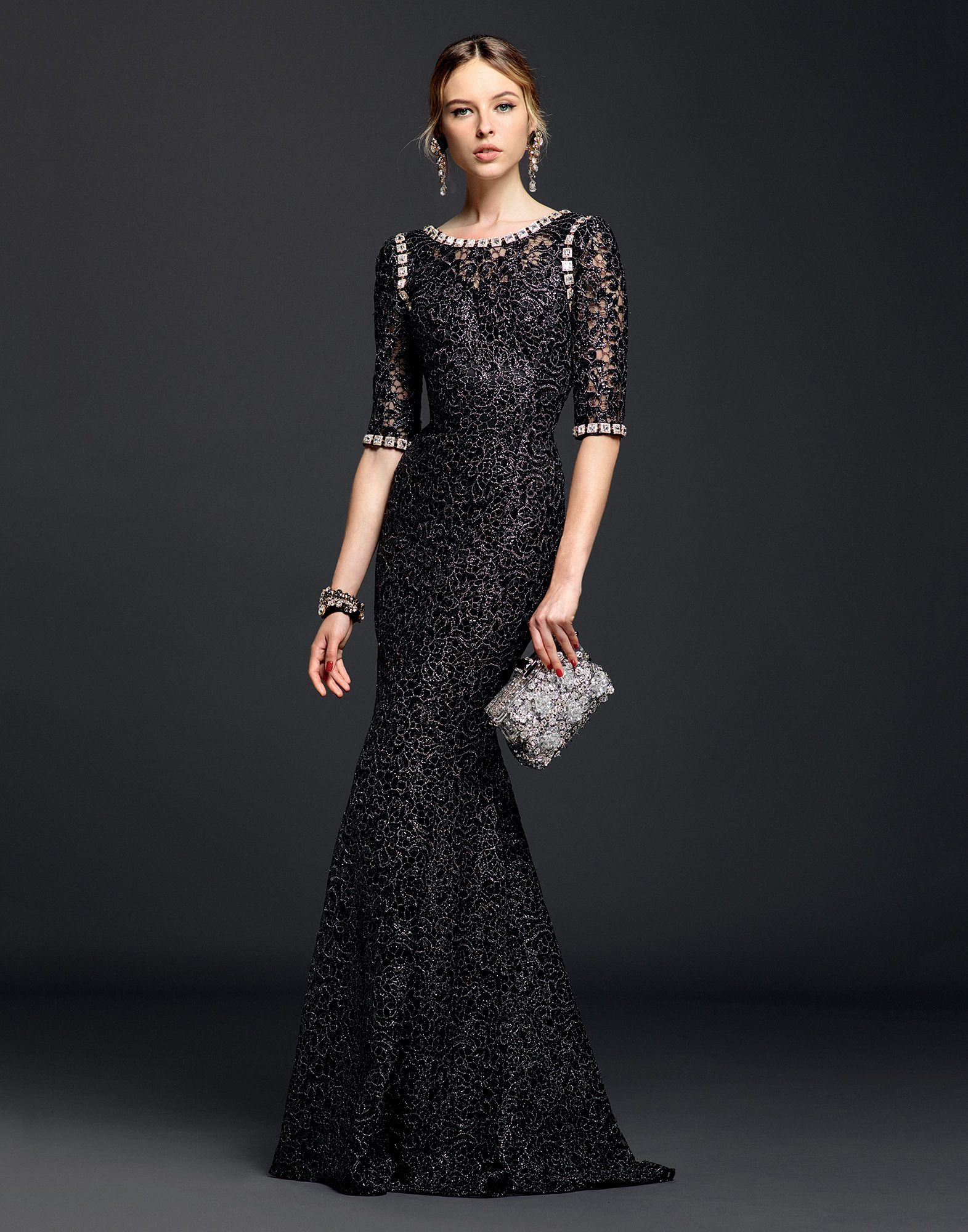 Dolce Gabbana Lurex Lace Dress With Crystals In Black Lyst