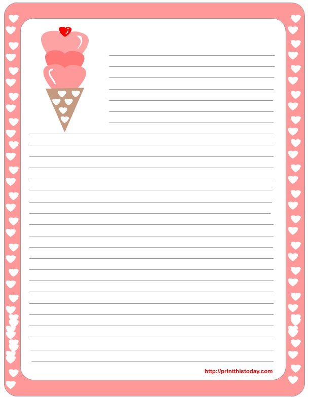 Great Free Border For Writing Paper | Free Printable Valentine Stationery | Print  This Today