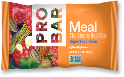 PROBAR Meal™ Superfood Slam -- Superfood Slam is a nutritional powerhouse. Our organic acai berries, pure raspberries, dark chocolate and greens are blended together with PROBAR's 10 signature ingredients for a bar that is good for you and tastes SUPER in every bite.