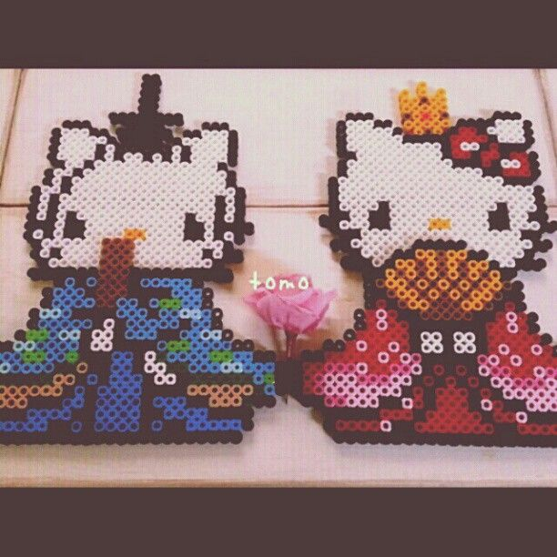 Hinamatsuri Hello Kitty perler beads by 5_saison | アイロンビーズ ...