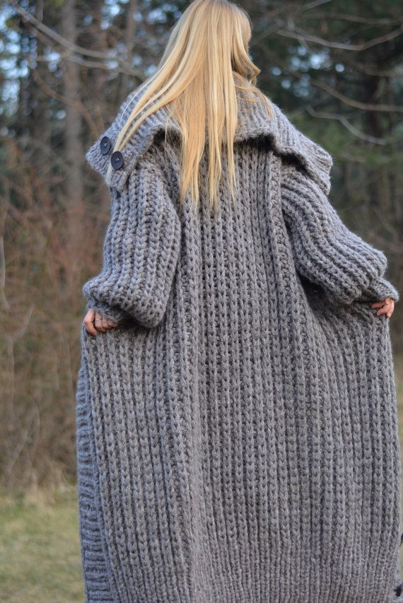 ORDEN mano cardigan punto lana grueso suéter rebeca larga