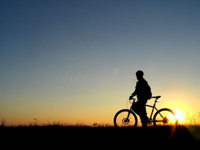 Cycling Mountain Biker Girl Silhouette In Sunrise Sponsored Biker Mountain Cycling Sunrise Silhouette Biker Girl Girl Silhouette Mountain Biker