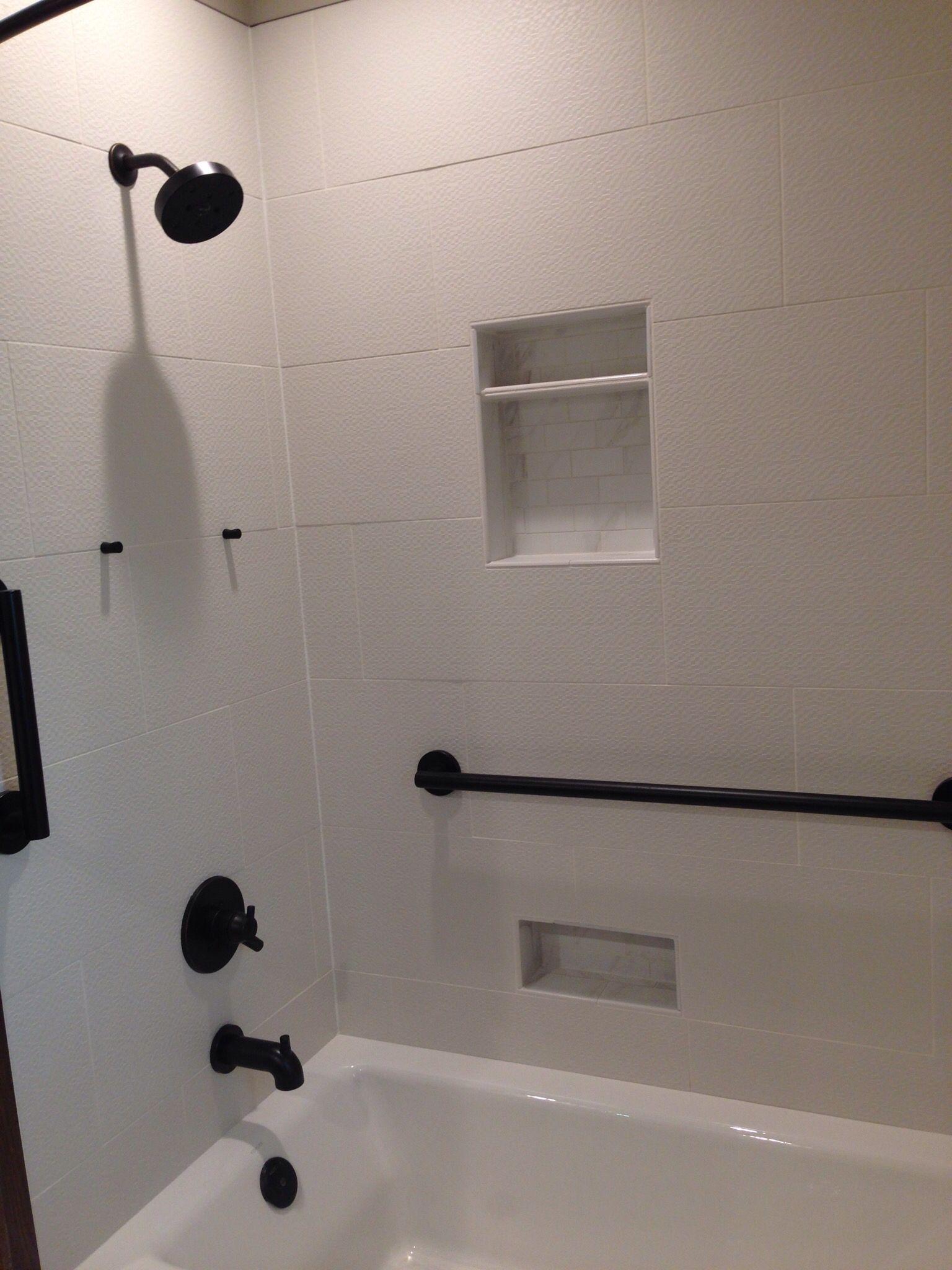 shower over bath white tile shower