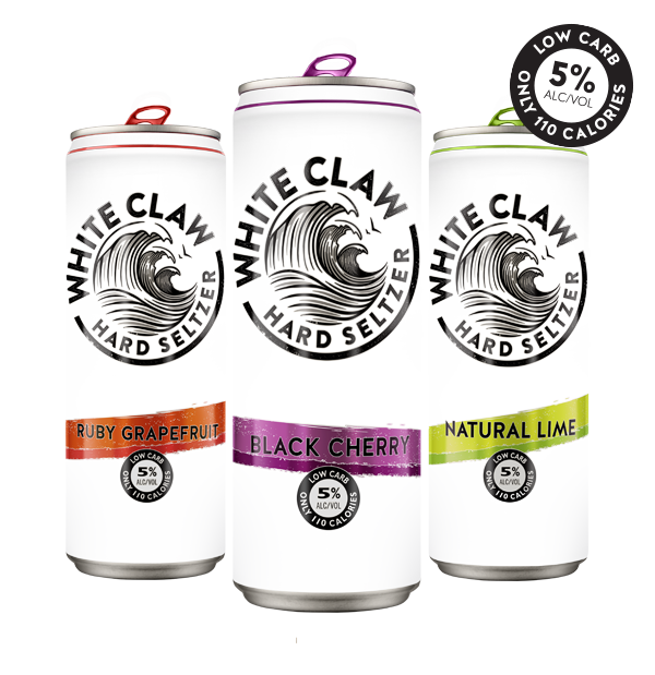 Picture Of Three Cans Of White Claw Hard Seltzer Ruby Grapefruit Black Cherry And Natural Lime Flavors White Claw Hard Seltzer Hard Seltzer Seltzer